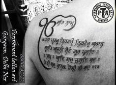 Mantra tattoo, gurbani mantra tattoo, mantra tattoo, back tattoo, ek onkar tattoo, men tattoo, stylish tattoo, best placement tattoo,  Done by -Deepak Karla 8800637272 AT- Permanent tattoo art, Gurgaon Delhi/NCR