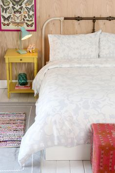 Painted bed frame Plum & Bow Gingham Floral Duvet Cover #urbanoutfitters