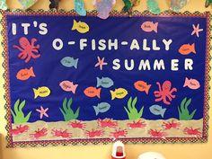 Toddler summer themed bulletin board (caterpillar art for toddlers)