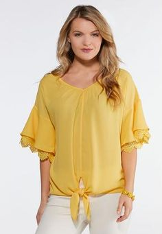 a5c00e7274898 Gold Tie Front Top Shirts   Amp   Blouses Cato Fashions. Plus Size ...