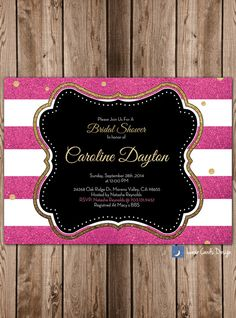 Bridal shower invitationglitter by lunarcardsdesign on Etsy