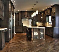 Dark Kitchen Cabinets/Herringbone floor