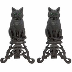 Black Cast Iron Cat Andirons ($215) ❤ liked on Polyvore featuring home, home decor, fireplace accessories, cat andirons, cast iron andirons, blue rhino, cast iron home decor and cat home decor