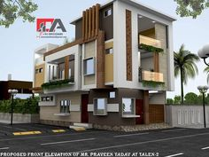 Bungalow House Design, House Front Design, Modern House Design, Modern House Facades, Modern Buildings, House Elevation, Front Elevation, House Architecture Styles, Modern Architecture