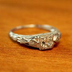 Stella Diamond Vintage Engagement Ring circa 1950