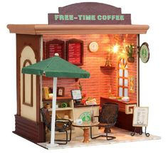 Dollhouse DIY Kit w/ Light Cafe Coffee Time Cake Shop Store Stand Joint NEW