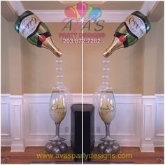 Champagne bottle and glass balloon decoration. Great for bridal shower, wedding decor or a gift for the the bride-to-be! #partywithballoons