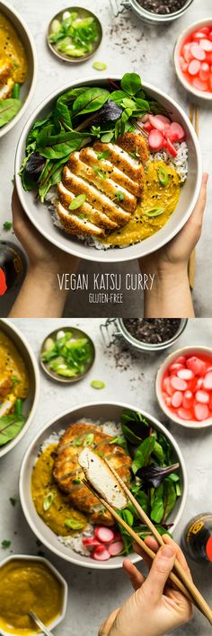 the 4 Cycle Solutions Japanese Diet - Vegan tofu katsu curry Discover the Worlds First & Only Carb Cycling Diet That INSTANTLY Flips ON Your Bodys Fat-Burning Switch Veggie Recipes, Asian Recipes, Cooking Recipes, Healthy Recipes, Recipes Dinner, Vegan Tofu Recipes, Japanese Vegetarian Recipes, Vegaterian Recipes, Vegan Recepies