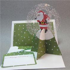 Santa snow globe pop-up card. CornerstoneLAE: Pop-up cards Pop Up Christmas Cards, Christmas Card Crafts, Xmas Cards, Holiday Cards, Pop Up Box Cards, 3d Cards, Fancy Fold Cards, Folded Cards, Kirigami
