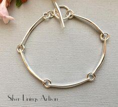 Sterling Silver Links - Artisan Bracelet - Made to Order - Minimalist - Modern Artisan Jewelry - Hand Forged - Textured - Chain Links Metal Jewelry, Sterling Silver Bracelets, Jewelry Shop, Sterling Silver Jewelry, Jewelry Design, Gold Jewellery, Jewelry Stores, Quartz Jewelry, Garnet Jewelry