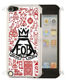 Fitted iPod Touch 5th 6th Gen Fall Out Boy Custom Design White Back Hard Case