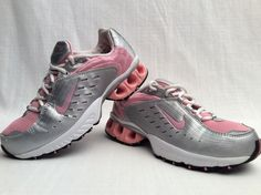 Size 9 Womens NIKE IMPAX RUN Athletic Sneaker Shoes Silver White Pink  #Nike #AthleticShoes