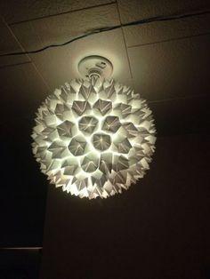 Como decorar una lampara colgante con papel