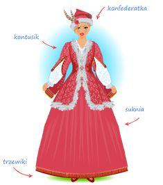 Strój szlachecki damski - opis Folk Clothing, Ethnic Outfits, Costume Design, Folk Art, Aurora Sleeping Beauty, Polish, Gowns, Costumes, Traditional