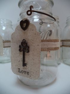 REDUCED 16 Mason Jars Heart Key Cotton Wedding Party Rustic Country Decorations