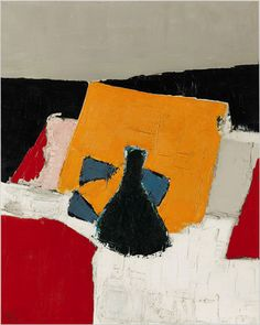 Nicolas de Staël - Artist XXè - Abstract Art - Nature mort à la carafe, 1953 Abstract Landscape Painting, Landscape Paintings, Abstract Art, Action Painting, Painting & Drawing, New York Times Arts, Creative Wall Painting, Georges Braque, Art Moderne