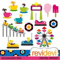 Amusement park cliparts. These cute digital images are great for any craft and creative projects.