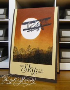 """By Angela Lorenz. Features stamp from """"Sky is the Limit"""" and """"Lovely as a Tree,"""" both by Stampin' Up. Detailed instructions on her website."""