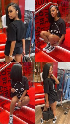 Swag Outfits For Girls, Boujee Outfits, Cute Swag Outfits, Dope Outfits, Trendy Outfits, Fashion Outfits, School Outfits, Fashion Ideas, Baddie Hairstyles