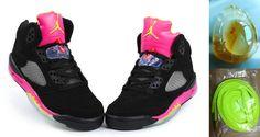 5f3bc1890dc3 Wholesale Cheap Air Jordan 5 Retro Womens Black Deep Pink Yellow with  Chalcedony Pendant   Volt Lace