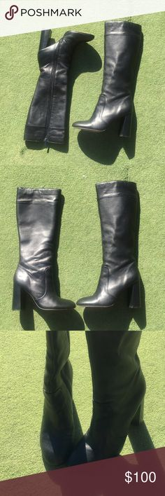 Frenchconnection knee high leather boots Size 42 or us 11. I feel like these might run smaller because I am a 9.5 and fit these but I also only wore them once with a thick sock. Selling because I am not a heels person but wore them for a one time occasion. I only wore them once but I wore them to a club so it might look like I wore them more. The only imperfections are the bottoms wich are black now & light scratches on the heels but I'll see if I can wash /buff them. The knee/thigh part is…