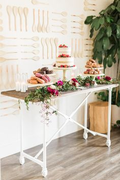 Modern floral dessert table from a Modern Rustic Baby Shower on Kara's Party Ideas | KarasPartyIdeas.com (24)