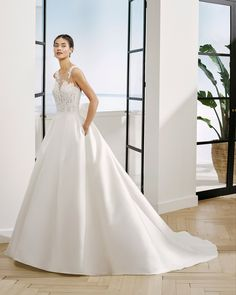 adriana alier by rosa clara Francesca Miranda, Bridal Collection, One Shoulder Wedding Dress, Gowns, Wedding Dresses, Lace, Fabric, Oslo, Beautiful