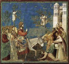 """Entrée dans Jérusalem, Giotto, 1303-1306, fresque, 200 x 185,  église de l'Aréna à Padoue.   """"La composition de cette scène rappelle celle de la Fuite en Égypte. Les deux histoires diffèrent pourtant grandement par leur signification."""""""