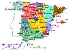 Mapa de España por provincias para escolares