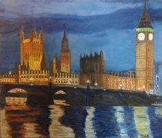 Londres nocturno, óleo.