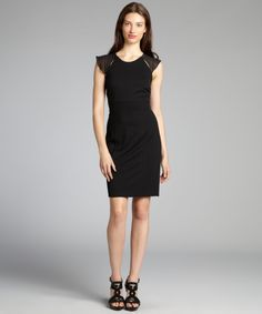 Andrew Marc black jersey sheer cap sleeve empire waist dress | BLUEFLY up to 70% off designer brands