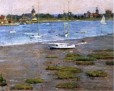 Theodore Robinson (American, [Old Lyme Colony, Impressionism] The Anchorage, Cos Cob, Impressionist Landscape, Landscape Paintings, Monet, A4 Poster, Poster Prints, Theodore Robinson, Cos Cob, American Impressionism, Oil Painting Reproductions