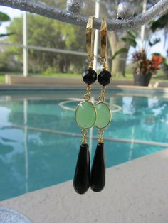 Faceted Black Onyx With Bezel Set Green by JKCustomDesigns on Etsy