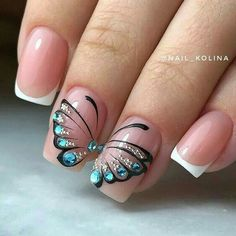 Butterfly nail art designs are loved by women because of its cute, colorful, beautiful patterns and symbolic significance, or simply because the design of butterfly nails has produced attractive effects on nails. Beautiful Nail Art, Gorgeous Nails, Pretty Nails, Butterfly Nail Designs, Butterfly Nail Art, Nagel Gel, Nail Decorations, Easy Nail Art, Nail Art Tips