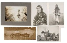 "5 silver gelatin photographs by Fred Miller of Crow Indians with penciled id's  (Prettiest girl in reservation), 7"" x 5""; one of Spotted Otter, wife of Comes Up Red, 8"" x 4.75""; Agatha Medicine Top Gardner on the Gift Horse, 4.75"" x 7""; a photograph of a Native family crossing the Little Big Horn river, 4"" x 9.5""; and a photograph of a small boy fully dressed in his dentalia shell necklace and bandolier named Aloysius Holds the Enemy, 5"" x 7"""