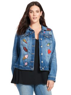 Badges Denim Jacket by Love & Legend by Addition Elle Available in sizes 12 and 14W-24W