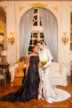 Danielle Steel steals a moment with her daughter Vanessa Traina, in Givenchy, on her wedding day. Photograph by Samuel Lippke & Allan Zepeda for Samuel Lippke Studios