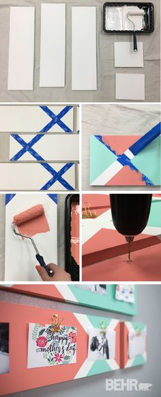 Display your favorite photographs in a new and creative way with this DIY painted clip board. This easy tutorial shows you how to use bright colors like Fish Pond and Indian Sunset to create a vibrant pattern that would look great on the walls of your home.