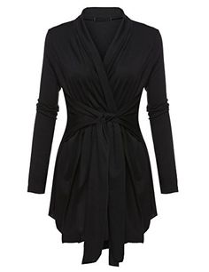 b95c18e84 Pagacat Womens Classic Long Sleeve Irregular Tie Front Cardigan Black XL  >>> More info could be found at the image url. (This is an affiliate link)