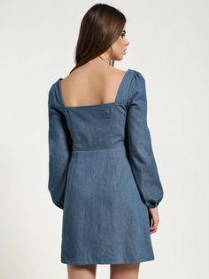 Buy Missguided Blue Zip-Up Bustier Denim Dress for Women Online in India Blue Denim Dress, Womens Denim Dress, Denim Dresses Online, Online Dress Shopping, Missguided, Zip Ups, Cold Shoulder Dress, India, Street Style