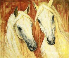 White Arabian Horses Poster By Silvana Gabudean