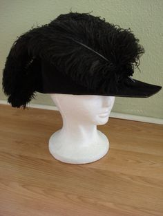 1920s Black Procession Ceremonial Masonic Knights Templar Pirate Military Chapeaux Bicorne Hat with Ostrich Plumes 201358. $150.00, via Etsy.