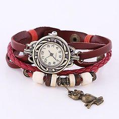 Dial de cuero rojo redondo de la Mujer Coway Diamond banda de cuarzo analógico reloj Braceiet – EUR € 5.51