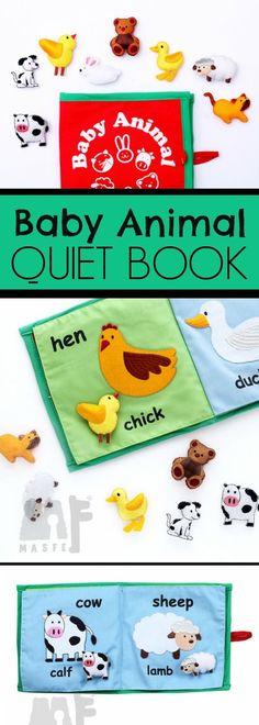 Baby Animal Fabric Quiet Book #toddlers #baby #preschool #preschoolers #prek #animals #classroom #busybook #daycare #homeschool #homeschooling #ad