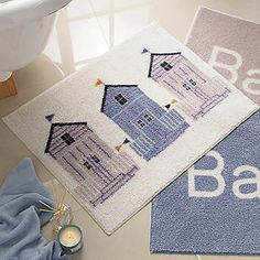 These Bath Rugs Have A Picture Of Beach Huts That Lay Across The S They Go Perfect With Beachy Theme