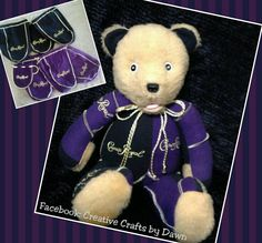 "Memory Bears made from loved ones clothing. This one I made several years ago from Crown Royal bags. Just gave it a ""facelift"" and turned it i to an open mouth bear. Find me on facebook: Creative Crafts by Dawn or check out my website creativecraftsbydawn.webs.com"
