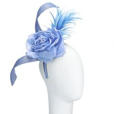 John Lewis Jade Rose and Feather Fascinator, Sky ($130) ❤ liked on Polyvore featuring accessories, hair accessories, headband hair accessories, flower headband, feather flower hair accessories, hair fascinators and head wrap headband