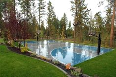 Basketball court under Swimming pool.  Wow!