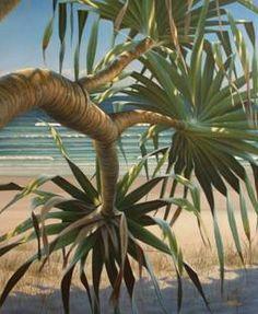 Pandanus by Mark Waller Acrylic Painting Canvas, Canvas Art, Seascape Paintings, Tropical Paintings, Hawaiian Art, Tree Illustration, Illustrations, Nature Scenes, Ocean Scenes
