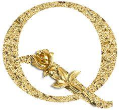 CH.B *✿* Alfabeto floral oro....Q